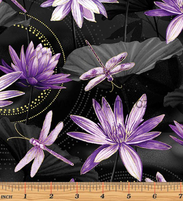 WATTERLILY BLACK PURPLE - s perletí