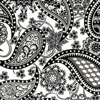 PAISLEY WHITE and BLACK